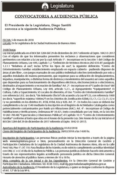 Aud. Pública – Ley Inicial: 5284