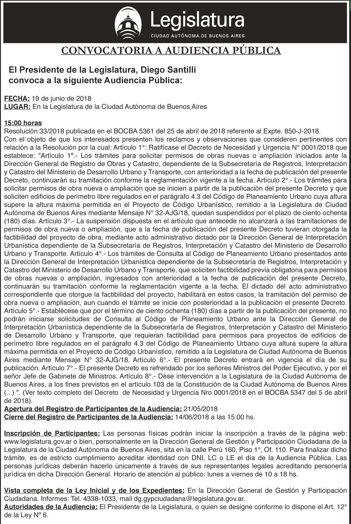 Aud. Pública – Resolución 33-2018